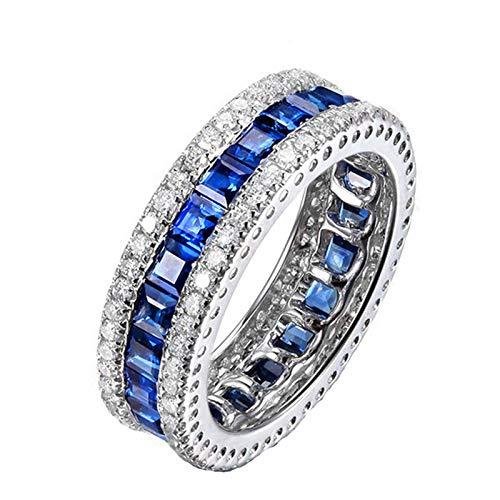 AueDsa Anillo Mujer 925,Anillo Zafiro Redondo con Cuadrado Cristal Zafiro Azul Blanco Anillos de Compromiso Mujer Talla 17