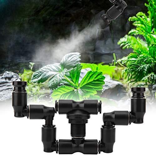 Aspersor de niebla Fogger de reptiles, sistema de nebulización de reptiles de cabeza doble 360 ° ajustable para tanque de selva tropical / flores de plantas de anfibios, conexión para bañera de 1/4 '