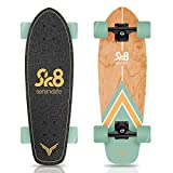 Complete Standard Skateboard Mini Cruiser - 6 Ply Canadian & Bamboo Maple Deck Complete Double Kick Skate Board W/ 5' Aluminum Trucks - for Kids, Teens, Adults - SereneLife SL5SBGR (Aqua)