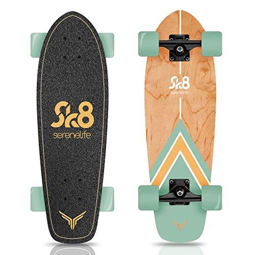 "Complete Standard Skateboard Mini Cruiser - 6 Ply Canadian & Bamboo Maple Deck Complete Double Kick Skate Board W/ 5"" Aluminum Trucks - for Kids, Teens, Adults - SereneLife SL5SBGR (Aqua)"