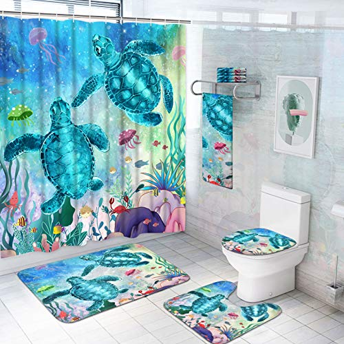 Alishomtll 7 Piece Sea Turtle Shower Curtain Sets with Rugs and Towels, Include Non-Slip Rugs, Toilet Lid Cover, Bath Towel and Mat, Kids Ocean Shower Curtain with 12 Hooks for Bathroom Decoration