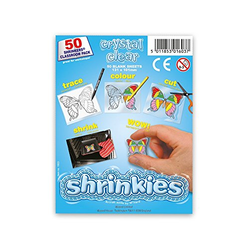 Shrink Art Art-WZ624 Shrinkles Originales,, Paquete Aula, 50 Hojas, Color Transparente (Keycraft WZ624)