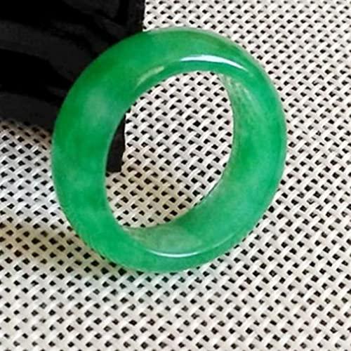 CYXY Anillo de jadeíta de Jade Natural Verde Anillo de jadeíta Verde seco Verde,19MM