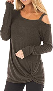 POQOQ Top T-Shirt Womens Casual Soft Long Sleeves O Neck Knot Side Twist Blouse
