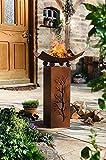 Metall Deko Säule + Feuerschale, 75cm hoch, in Rost Optik, Garten Lagerfeuer Feuerstelle