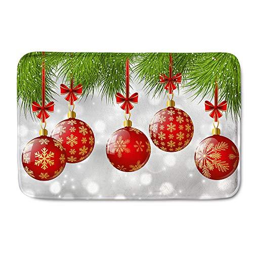 Alfombrilla Antideslizante navideña, Bolas de Colores, alfombras de área, felpudos para Sala de Estar, Dormitorio, Pasillo, Cocina,Merry Christmas,40 * 120cm