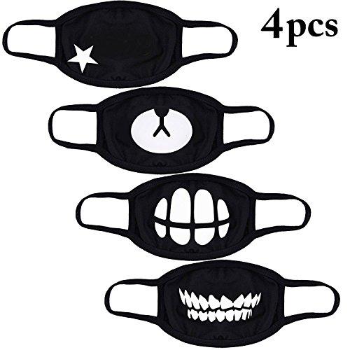 Bageek 4 Pack Unisex katoenen gezicht cover anti-stof beschermende oorlus mondschild met glimlach beer patroon