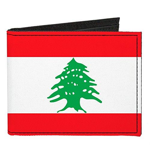 Buckle-Down Herren Canvas Bi-fold Wallet-Lebanon Flag Zweifalten-Geldbörse, Mehrfarbig, Einheitsgröße