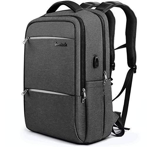 Inateck Zaino per laptop da 17 pollici anti borseggio anti graffio con presa ricarica USB e anti-spruzzo d'acqua con la cover anti-pioggia