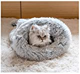 BODISEINT Cat Sleeping Bag Self-Warming Cat Bed Kitty Sack Winter Cozy Improved Sleep Small Dog Bed Mini Dachshund Chihuahua Cuddle Cave Snuggly Bed for Home & Travel (S, Gradient Gray)