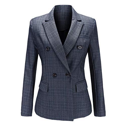 YYNUDA Blazer - Chaqueta Formal para Mujer con Doble Pecho, Ajustada, Elegante, Informal, a Cuadros, para Mujer Gris Gris 44