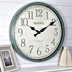 FirsTime & Co. Bellamy Wall Clock, 24, Aged Teal