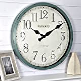 FirsTime & Co. Bellamy Wall Clock, 24', Aged Teal
