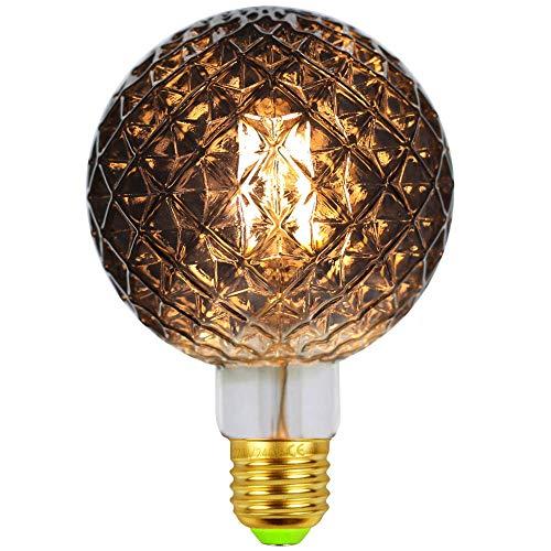 Edison Vintage Glühbirne, LED Vintage Glühbirne E27 4W Warmweiß ,Retro Glühbirne Vintage Spezialität Dekorative Glühbirne,Ideal für Dekoration und Sammlung (G95 innen Ananas grau)