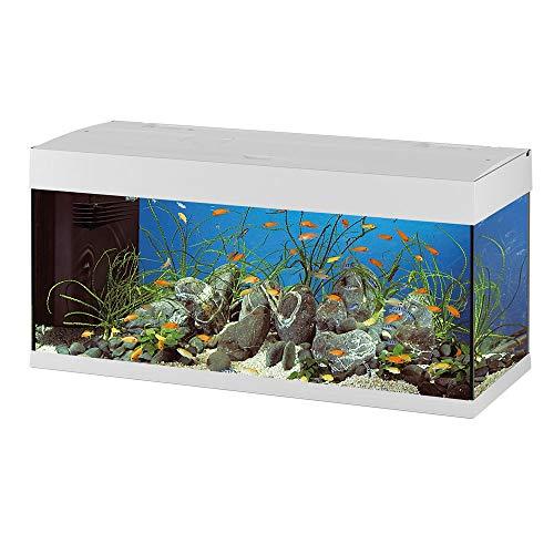 Ferplast Acquario in Vetro Dubai 120, Vasca Acquario Grande 240 L per Acqua Dolce o Marina, Completo di Filtro, Lampade e Timer, 121 X 41 X H 56 cm Bianco