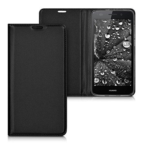 kwmobile Funda movil Compatible con Huawei Y6 II - Carcasa de Cuero sintético - Case en Negro