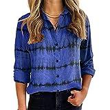 Elesoon Blusa de manga larga con cuello en V y cuello en V para mujer, A-azul, 48