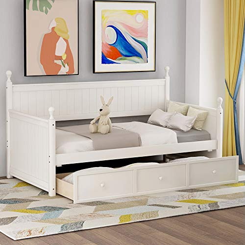 Twin Daybed with Storage Drawers, Wooden Storage Daybed Frame with Slats, 275 lbs Weight Limits.White