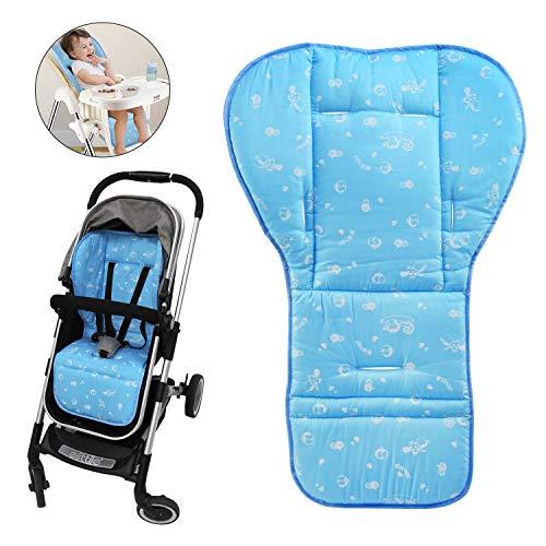 BelleStyle Colchonetas para silla de paseo, Universal Colchoneta Silla Colchoneta Suave Transpirable bebé algodón puro cochecito asiento maletero bebé recién Nacido cojín (Azul)