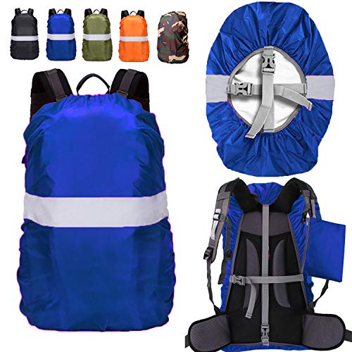 ZM-SPORTS 15-90L Backpack Rain Cover with Reflective Strip,with Vertical Adjustable Fixed Strap Avoid to Falling,Gift with Portable Storage Pack (Blue with Reflective Strip, S(for 15-25L Backpack)