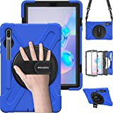 BRAECN Samsung Galaxy Tab S6 case 10.5 Inch 2019 Model (with S Pen Holder),Heavy Duty Drop Protection Rugged Case with [Hand Strap][Rotating Stand][Shoulder Strap],No Support Samsung Key Board–Blue
