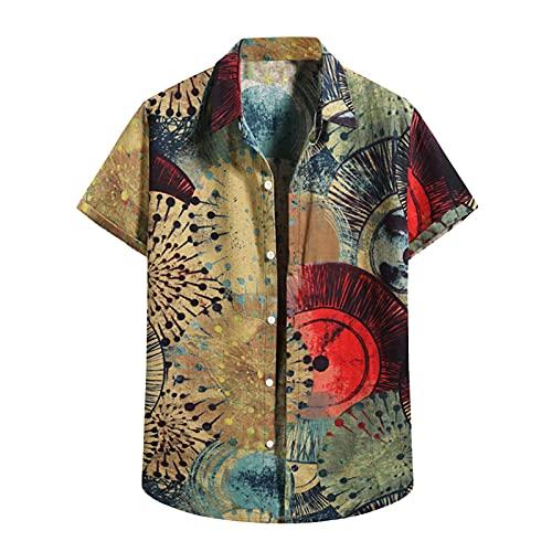 Camisa hawaiana para hombre con estampado de flores, vacaciones, para el tiempo libre, informal, para la playa, de manga corta, cuello en V D_Khaki. XXL