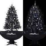 UnfadeMemory Árbol de Navidad Artificial con Nieve Cayendo y Adornos de Bolas, Crear Ambiente Navideño en Interior o en Exterior,Base en Paraguas (Negro, Altura 170cm)