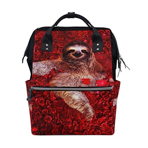 tizorax Sexy Faultier rot Rose Windel Rucksack Große Kapazität Baby-Bag Multifunktions-Wickeltaschen Mom Rucksack Reisen für Baby Care