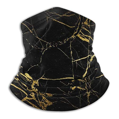 naizi Black & Gold Marble Unisex Microfiber Neck Warmer Headwear Face Scarf Mask For Winter Cold Weather Mask Bandana Balaclava