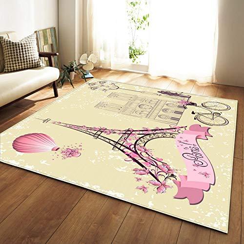 Große Teppiche, Böhmische Hippie rutschfeste Dicken Weichen Gemütlichen Teppich, Romantische Paris Eiffel Tower Art Home Dekor Für Wohnzimmer Schlafzimmer Bett Eingangsbereich, 60×39 Zoll (152,4