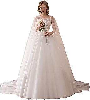 435f7c9265bf0 Dreagel Women s Elegant Lace Wedding Dresses A-line Bridal Gowns with Cape