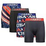 AEROPOSTALE Mens Boxer Briefs 4 Pack Poly Spandex Performance Boxer Briefs Underwear (U.S.A., Medium)