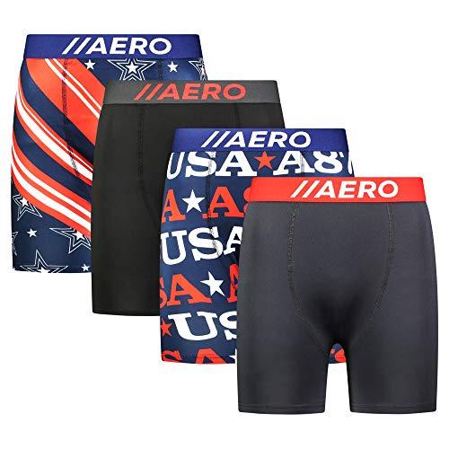 AEROPOSTALE Mens Boxer Briefs 4 Pack Poly Spandex Performance Boxer Briefs Underwear (U.S.A., Large)