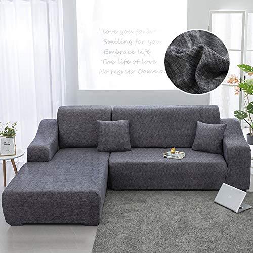 ASCV Fundas de sofá Chaise Longue para Sala de Estar Funda elástica para sofá Estiramiento en Forma de L Funda para sofá de Esquina A6 2 plazas