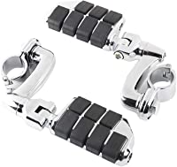 F FIERCE CYCLE 1 Pair Motorcycle Highway Foot Pegs Rest Pedals Aluminum Alloy Universal Fits Motorbike with 1 to 1-1//4 Engine Guard