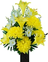 Sympathy Silks Artificial Cemetery Flowers - Realistic - Outdoor Grave Decorations - Non-Bleed Colors, and Easy Fit - Yellow Dahlia and Lily Mix Bouquet