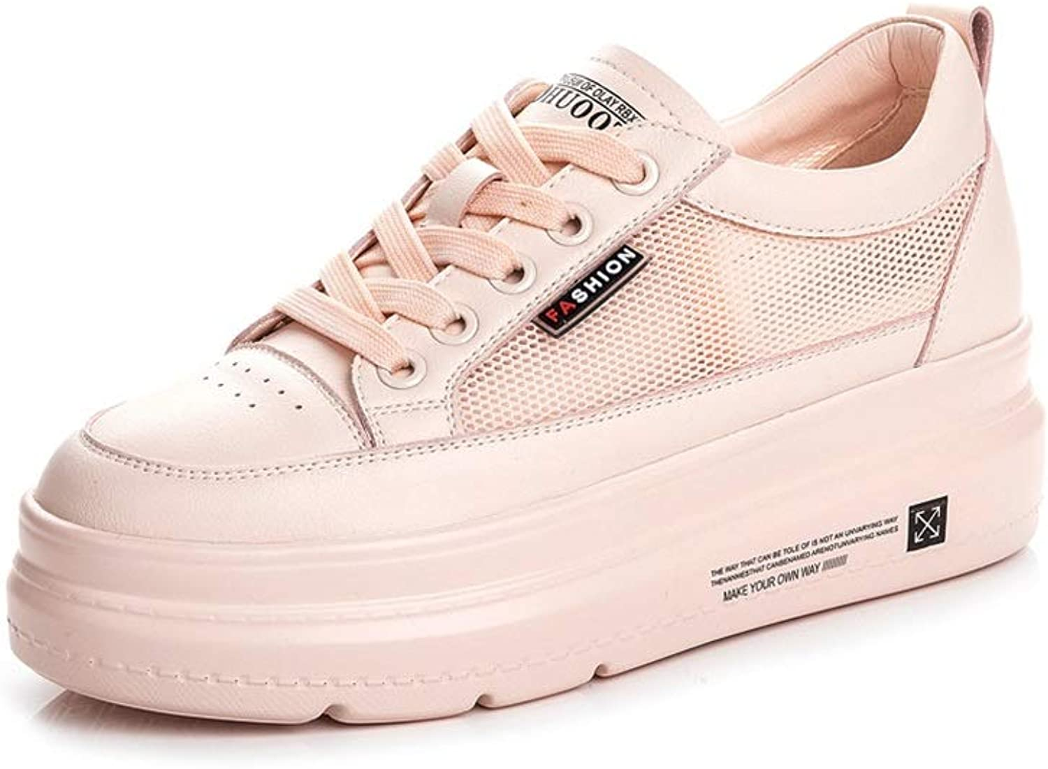 WANGFANG Sandals Increase The Small White shoes, Summer Breathable Mesh Surface Hollow Chunky Platform shoes for Women (color   Pink, Size   US6 EU37 UK4 MX3.5 CN37)