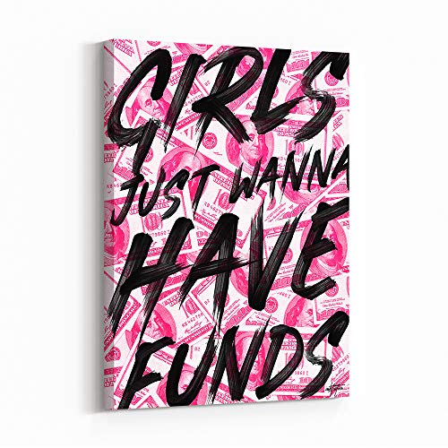 Inktuitive 'Girl Funds' Inspirational Wall w/Black Frame   Women Boss Quote Canvas Print   Motivational Décor for Bedroom, Living Room & Business Office   60 x 40 Inches