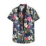 YOUQU Camisa Hawaiana Hombre,Funky Graphic,Casual Night Club Party Manga Corta,Unisex Surf Beach Aloha Tops Florales,Azul,M