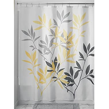 InterDesign 35600 Leaves Fabric Shower Curtain - Standard, 72  x 72 , Gray/Yellow