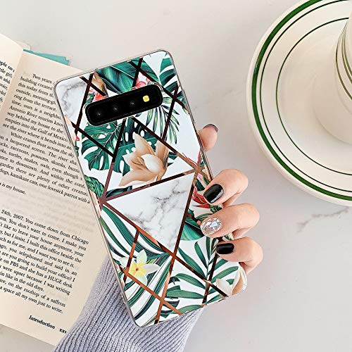 Uposao Kompatibel mit Samsung Galaxy S10 Marmor Hülle Case Glitzer Marmor Blumen Muster Weiche TPU Silikon Ultra Dünn Hülle Schutzhülle Kratzfest TPU Bumper Handytasche Case Cover,Grün