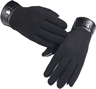 Winter Men Motorcycle Driving Leather Gloves Touchscreen Texting Gloves Spain Nappa Wool/Faux Fur Liner
