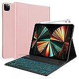 Funda con Teclado para iPad Pro 12.9 2021, Funda con Teclado Español Ñ extraíble con Bluetooth para iPad Pro 12.9 Pulgadas 4th. y 3ra. Generación 2020 2018, Oro Rosa