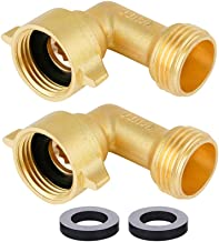 HQMPC Garden Hose Connector 90 Degree Brass Garden Hose Elbow Solid Brass Adapter (2Pcs)+ Extra 4 Pressure Washers