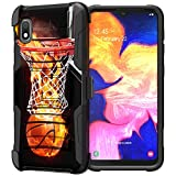 Compatible with Samsung Galaxy A10e / Samsung Galaxy A20e   Rugged Shockproof Two Layer Kickstand Belt Clip Swivel Holster Case by Untouchble - Basketball Fire