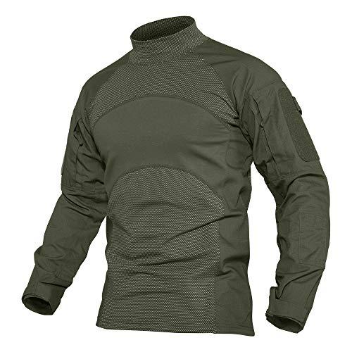 MAGCOMSEN Männer Militär Shirt Langarm Baumwolle T-Shirt Taktisch Combat Shirt Stehkragen Herren Trekking Klettern Paintball Shirt Atmungsaktiv Frühling Hemd Armeegrün M