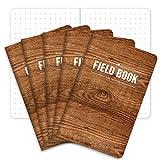 フィールドノート 3.5インチx5.5インチ 木製 罫線入り 5冊パック ELAN-FN-003G