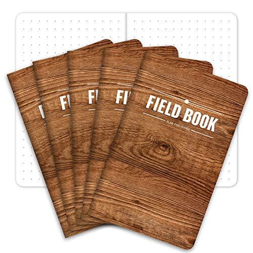 Field Notebook Pocket Journal - 3.5 x5.5  - Wood Pattern - Dot Graph Memo Book - Pack of 5