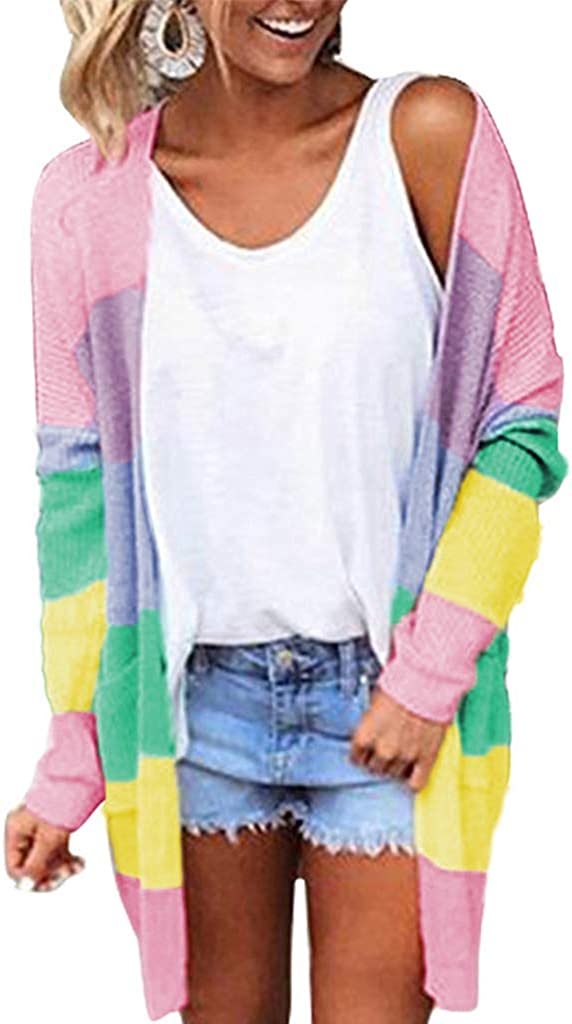 Sixinu Fashionable Women Rainbow Color Block Striped Sl Cardigan Kimono Sale Special Price Long
