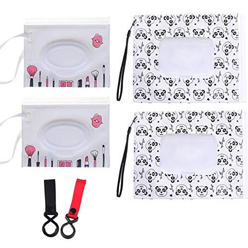 Imagen para NIU MANG - 4 Bolsas de toallitas húmedas + 2 Ganchos para Cochecito de bebé, dispensador de toallitas de Viaje con patrón de Dibujos Animados de Panda, Reutilizable, Bolsa de toallitas húmedas